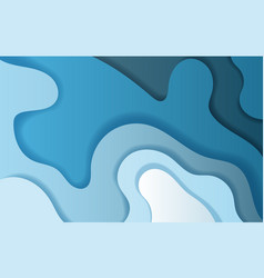 paper art and craft of abstract curve shape blue vector image