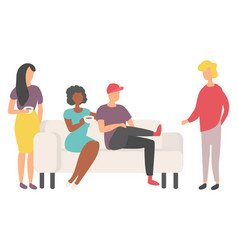 people drinking friends sitting on sofa vector image