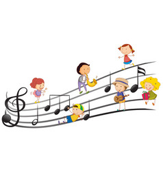 People playing musical instruments with music vector