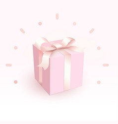 pink closed box with tender satin ribbon magic vector image