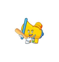 Playing baseball yellow loudspeaker cartoon vector