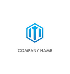 polygon m initial company logo vector image