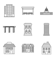 Private hotel icons set outline style vector