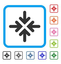 Quadro collide arrows framed icon vector