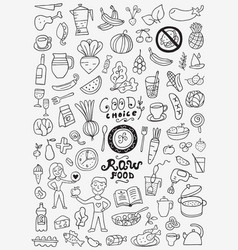 Raw food doodles vector