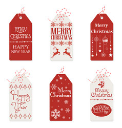 red and white tags with vector image