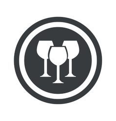 Round black wine glass sign vector image