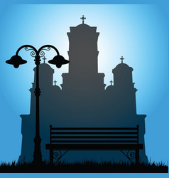 Saint marks church with bench in park silhouette vector