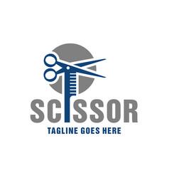 scissors and comb inspiration logo vector image