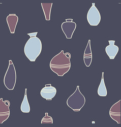 seamless pattern with stylized vases decorative vector image