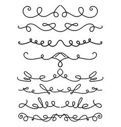 set hand drawn calligraphic elements vector image