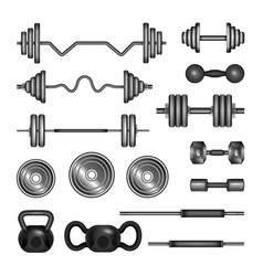 Set of gym equipment - modern realistic vector