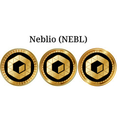 Set of physical golden coin neblio nebl vector