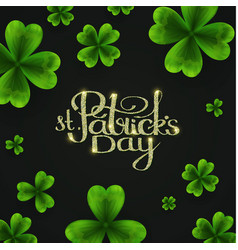 st patricks day background with shamrock lucky vector image