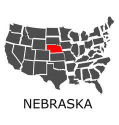 State of nebraska on map of usa vector