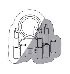 sticker monochrome contour with make up set vector image