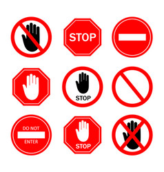 stop sign icon ban to enter red symbol vector image