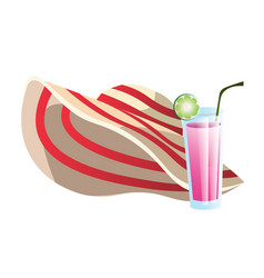 Straw hat and cocktail drink summer objects vector