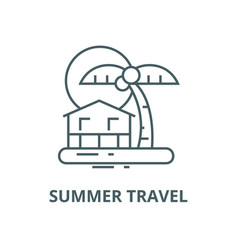 summer travel beachpalm home sunset vector image