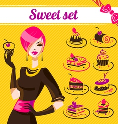 Sweet set cakes icons vector