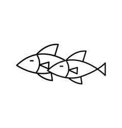 Thin line fish icon vector