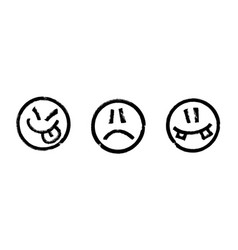 three smileys drawn a black marker vector image