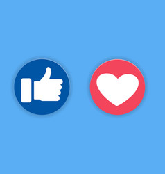 thumbs up and heart icon on a blue background vector image