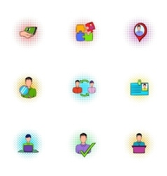 Time management icons set pop-art style vector