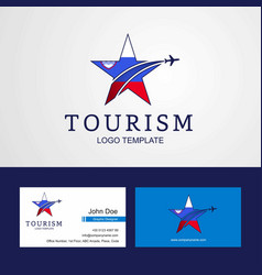 travel slovenia flag creative star logo and vector image
