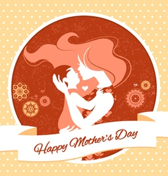 Vintage beautiful silhouette mother and baby vector