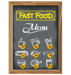 vintage chalkboard with fast food menu vector image