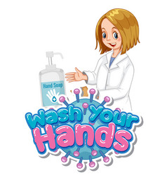 Wash your hands poster design with happy doctor vector