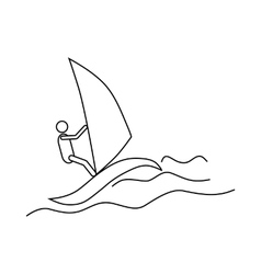 Windsurfing icon outline style vector image