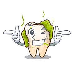 Wink cartoon unhealthy decayed teeth in mouth vector