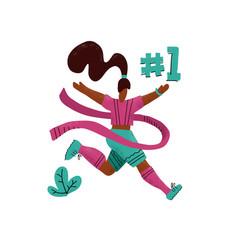 winner woman running into finish happy hand vector image
