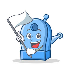 With flag pencil sharpener character cartoon vector