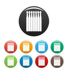 wood matches icons set color vector image