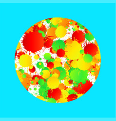 Yellow red green turquoise watercolor paint vector