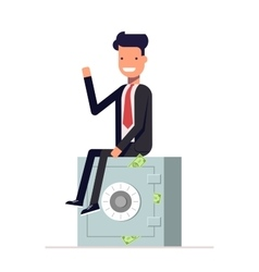 Businessman or manager sits on a private safe vector image vector image