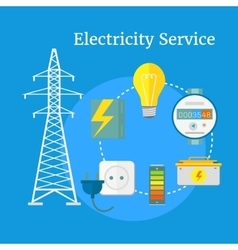 Electricity Service Flat Design vector image vector image