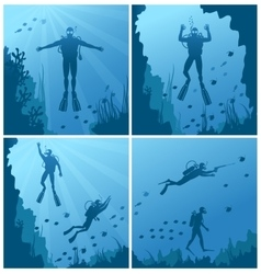 Scuba divers under water vector image vector image