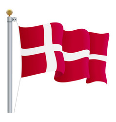 waving denmark flag isolated on a white background vector image vector image