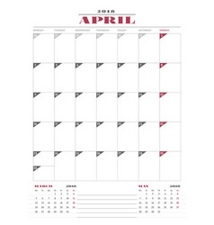 calendar planner template for 2018 year april vector image vector image