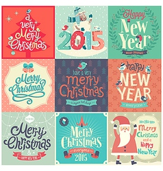 christmas funny emblems set vector image vector image