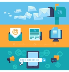 email marketing concepts - flat icons vector image vector image