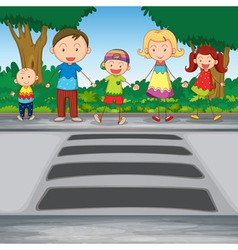 family crossing road vector image
