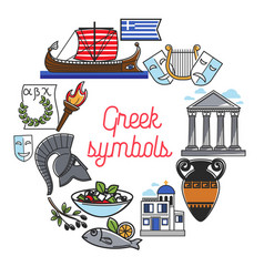 greece famous sightseeing symbols and culture vector image vector image