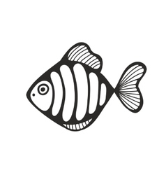 Hand drawn fish isolated on the white background vector image