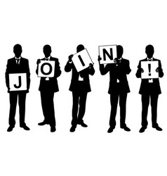 People holding join sign vector