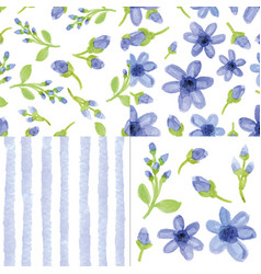 watercolor blue flowersstrips seamless patter vector image vector image